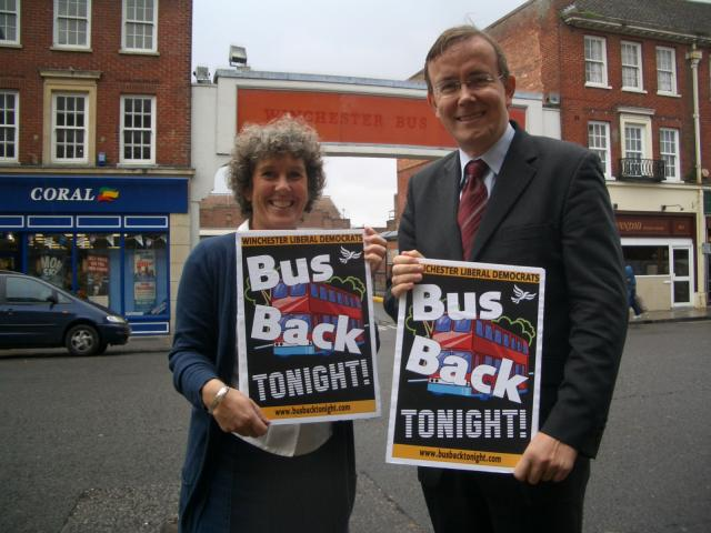 Martin Tod and Jackie Porter campaigning for evening buses