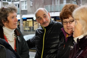 Councillors Alan and Haulwen Broadhurst discuss shopping at Fryern Arcade with Jackie and residents